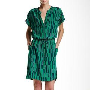 Vince Block Print Cap Sleeve Dress XS